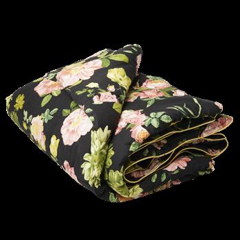 Täcke - Svart med rosa blommor