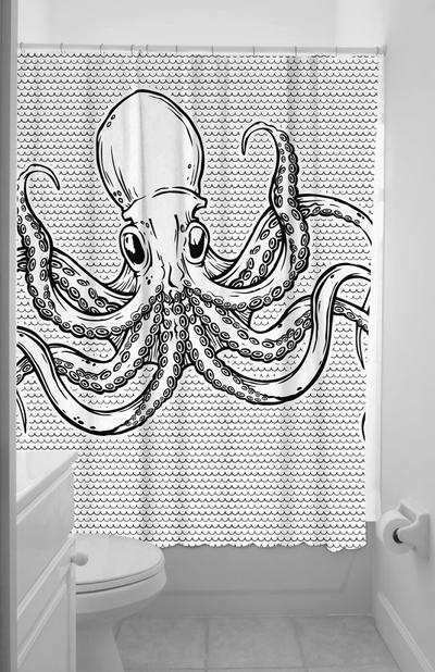 Dusch draperi Bläckfisk