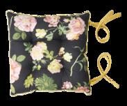 Kudde - Svart med rosa blommor